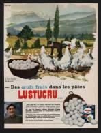 Pub Papier 1966 Alimentation Pates LUSTUCRU élevage Avicole Recoubeau Drôme Mr Genevès Poule Coq - Publicités