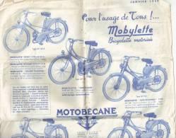 PUBLICITE MOTOBECANE JANVIER 1957 MOBYLETTE-LES VELOMOTEURS-LES MOTOCYCLETTES AVEC FEUILLES DES TARIFS - Plaques Publicitaires