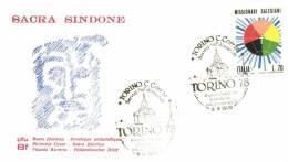Italia 1977 Mi. 1563 On Cover Sacra Sindone With Cancellation Torino 9-9-1978, Face Of Jesus Christ - 1946-.. République