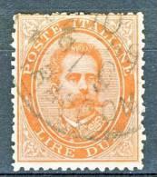 Regno U1, 1879, Sassone N. 43, Lire 2 Vermiglio, Usato - 1878-00 Humberto I