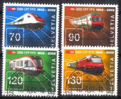Zu 1047-1050 / Mi 1778-1781 / YT 1703-1706 100 Ans CFF Train Obl. 1er Jour Demi-lune BERN 1 SCHANZENPOST - Switzerland