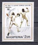 ALBANIA 1976 OLYMPIC GAMES FENCING IMPERFORATED - Esgrima