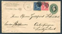 1898 USA Bank Of Doniphan Nebraska Uprated Stationery To Switzerland