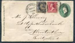 1891 USA Cincinnati Uprated Stationery Cover To Switzerland