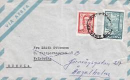 Argentina Airmail Via Aerea BUENOS AIRES 1966 Cover Letra To FÄLKÖPING Readressed ÄNGELHOLM Sweden Suecia - Luftpost
