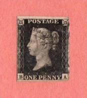 """GBR SC #1  1840 Queen Victoria (""""Penny Black"""")  (B,A)  W/stn/adherent (?) @ TC (back - Shown)  4 Margins, CV $320.00 - 1840-1901 (Victoria)"""