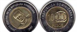 10 Pesos DOMINICAN REPUBLIC 2007 COIN Unc - Dominicaanse Republiek