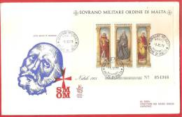 SMOM FDC VENETIA - 1971 - Natale 1971: Trittico Di Liberale Da Verona - BUSTONE CON FOGLIETTO VIAGGIATO - Malte (Ordre De)