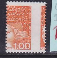 FRANCE N° 3089 1F ORANGE TYPE MARIANNE DU 14 JUILLET PIQUAGE A CHEVAL  NEUF SANS CHARNIERE - Curiosities: 1990-99 Mint/hinged