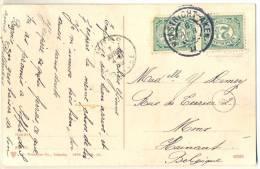3pk918:pk: VALKENBURG Ruïne Met Panorama: 2x 2½cent: MAASTRICHT-ALKEN 6 APR 09 II > Mons  B : Treinstempel - 1891-1948 (Wilhelmine)