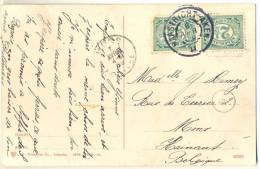 3pk918:pk: VALKENBURG Ruïne Met Panorama: 2x 2½cent: MAASTRICHT-ALKEN 6 APR 09 II > Mons  B : Treinstempel - Lettres & Documents