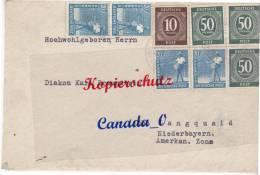 B  9  --  Brief V. Groß Grimberg Post Altenberg /Rhld N. Langquaid NdrBay. 10-fach Frankatut  216.1948  M.Inhalt - American,British And Russian Zone