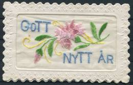 Sweden Gott Nytt Ar Broderat Nyarskort Silk New Year Postcard - Sweden