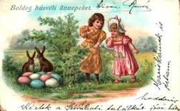 Pâques Lapin - 1 Fillettes Et Oeufs - Easter