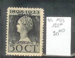 Nederland - Yv 125 - 50 Cent Wilhelmina - Mint Hinged - Neuf Charnière - 1891-1948 (Wilhelmine)
