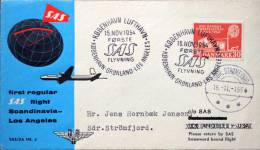 Denmark 1954 First Regular SAS Flight Scandinavia-Los Angels. Cover To Greenland ( Lot 1594 ) - Danemark