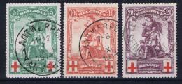 Belgium: OBP 126 - 128, Used Obl Rode Kruis, Croix Rouge
