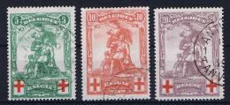 Belgium: OBP 126 - 128, Used Obl Rode Kruis, Croix Rouge (Fake O Instead Of Q In Belgique)