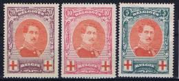 Belgium: OBP  132 - 134 ,  MH/* , Rode Kruis, Croix Rouge - 1914-1915 Rode Kruis