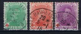 Belgium: OBP  129 - 131 ,  Used Obl , Rode Kruis, Croix Rouge - 1914-1915 Croix-Rouge