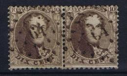 Belgium:  1863 OBP Nr 14 Paire Cancel 64 Molenbeek