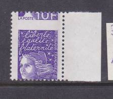 FRANCE N° 3099 10F VIOLET TYPE MARIANNE DU 14 JUILLET PIQUAGE A CHEVAL NEUF SANS CHARNIERE - Curiosities: 1990-99 Mint/hinged