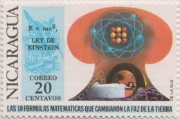 Hourglass, Masonic Symbol, Einstein, Nobel Prize Physics Mathematics Theory Of Relativity, MNH 1971 Scott 879 Nicaragua - Physics