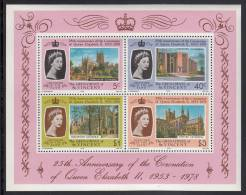 St. Vincent Grenadines MNH Scott #156a Souvenir Sheet Of 4 Worcester, Coventry, Winchester, Chester 25th Ann Coronation - St.Vincent & Grenadines