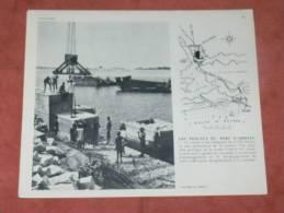 COTE D IVOIRE ABIDJAN  1950 TRAVAUX DANS LE PORT CONSTRUCTION DE LA  DIGUE   FORMAT 24X21 CM - Lieux