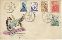 SOBRE  FDC SERIE COMPLETA PRO INFANCIA  AVES  CONDOR  TIJERETA  CARPINTERO DE LA PATAGONIA  PERDIZ  ARGENTINA BIRDS  OHL - Collections, Lots & Series