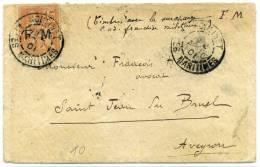FRANCE - MOUCHON FM N°1 SUR LETTRE DE MOULINET LE 2/8/1901 POUR L'AVEYRON - TB - Franchise Militaire (timbres)