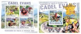 GUINEA BISSAU 2011 - Cadel Evans, Tour De France - Mi 5533-6 + B957 - Ciclismo