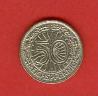 Allemagne - Republique De Weimar - 1933 J -  50 Reichsfenning - Nickel  - KM 49 - 50 Rentenpfennig & 50 Reichspfennig