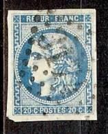 N° 46B OBLITERE VARIETE TRAIT BLANC DEVANT LE MENTON - 1870 Emission De Bordeaux