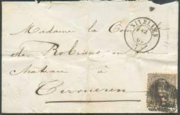 N°14 - Médaillon 10 Centimes Brun Obl. P.89 Sur Enveloppe De NIVELLES Le 12 Janvier 1864 Vers Tervueren - 8681 - 1863-1864 Médaillons (13/16)