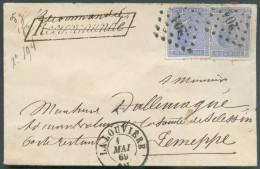 N°18(2) - 20 Centimes Bleus Foncés (x2, 1 Coin Rond) Obl. LP.204 S/Enveloppe De LA LOUVIERE Le 1 Mai 1869 + Griffe Enc.R - 1865-1866 Profil Gauche