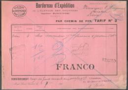 Bordereau D´Expédition Expédié De MONT-St-GUIBERT Par Chemin De Fer Tarif N°2 + Griffe POIDS RECONNU/MONT-St-GUIBERT Et - Railway