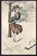 CPA ANCIENNE- FRANCE-  ILLUSTRATION SIGNÉE : RENÉ GILLES- JEUNE FEMME- BONNE ANNÉE- RENDEZ-VOUS DANS LA NEIGE - Autres Illustrateurs
