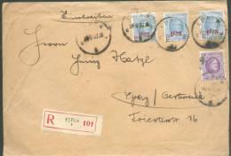 Lettre Recommandé Affranchie HOUYOUX/MONTENEZ à 5Fr.50 De EUPEN 1 (cantosn De L'Est) Le 24-6-1927 Vers Graz (nouveau Tar - 1922-1927 Houyoux