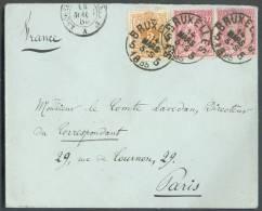 N°28-46(2) - 5 Centimes Emission 1869 En Affranchissement Mixte Avec Paire Du 10 Centimes Emission 1884 Obl. Sc BRUXELLE - 1869-1883 Leopold II