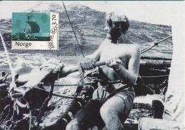 Norge Norway 1997 Norwegian Post 350 Years, Thor Heyerdahl Roing Kon Tiki, Reed Raft, MK2-976, Maximumcard - Maximum Cards & Covers