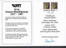 Norway 1986 Weihnachten Christmas Jul Noel Natale Navidad Postens Filatelitjeneste Karte Card (2 Scans) - Briefe U. Dokumente