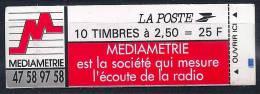France- Carnet 2720-C3 (fermé) Pub Médiamétrie - Carnets