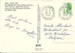 France Marianne 1989 Castelnau Durban Ariège >> Wondelgem B - Covers & Documents