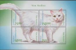 Turkey. White Cat. 1997. MNH Sheet Of 4.  SCV = 10.00 - Chats Domestiques