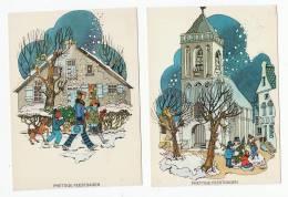 Lot 2 Kaarten Prettige Feestdagen (Joyeuses Fêtes) Ontwerp Anke De Boer - Enfants - Neige - église - Kerk- Kinderen - New Year