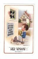 """CPA :Her Window :""""  Petit Garçon Pleurant Devant Une Fenêtre Brisée Après Un Raid Aérien- Dessin Signé Donald Mac Gill - Guerre 1914-18"""