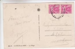 Paire Timbres Taxe YT 75 Sur CPA Affranchie Au Recto Avec YT 838 Et 680 - Cayeux Sur Mer - 80 - Scan Recto-verso - 1859-1955 Lettres & Documents