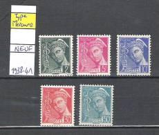 Timbre Type Mercure N° 405-406-407-412-414A ** - Année 1938-41 - Nuevos