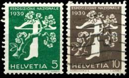 OUVERTURE DE L'EXPOSITION NATIONALE DE ZURICH ( EN ITALIEN ) 333 ET 334  1939 - Usados